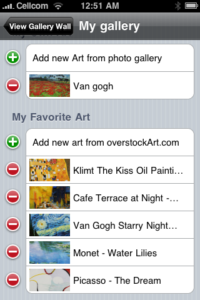 My Gallery addition to the overstockArt.com iphone app