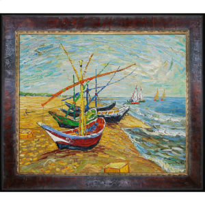"Vincent van Gogh's ode to the Mediterranean sea village Saintes-Maries-de-la-Mer ""Fishing Boats on the Beach at Saintes-Maries"" the most popular oil painting for dad"