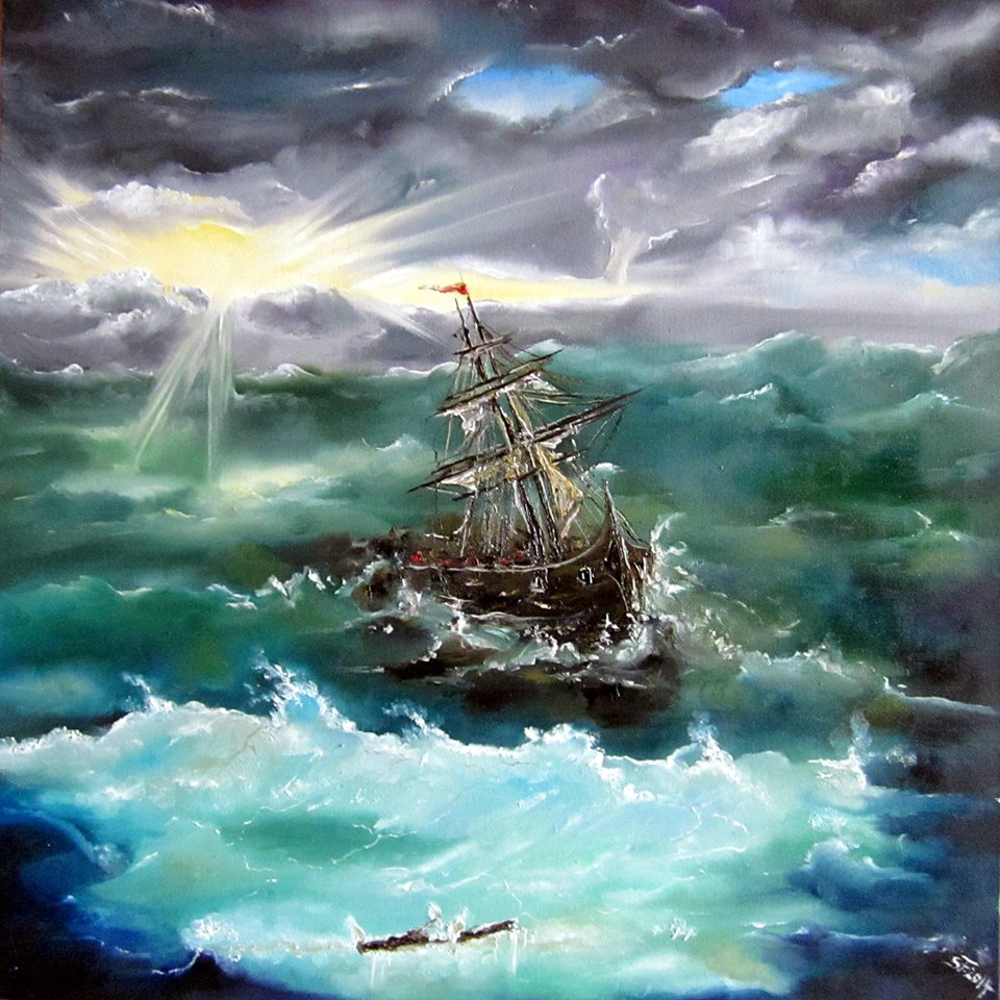 BOAT IN STORM by Susan Fischer