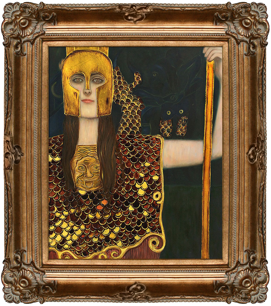 Klimt's Pallas Athene sparkles and shines with embellished gold accents