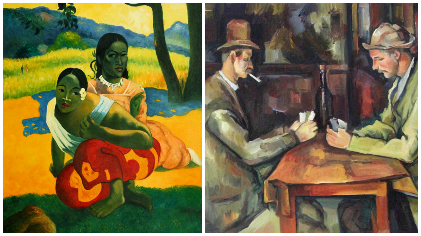 "Paul Gauguin's 1892 ""When Will You Marry?"" and Paul Cézanne's 1890-92 ""The Card Players."""