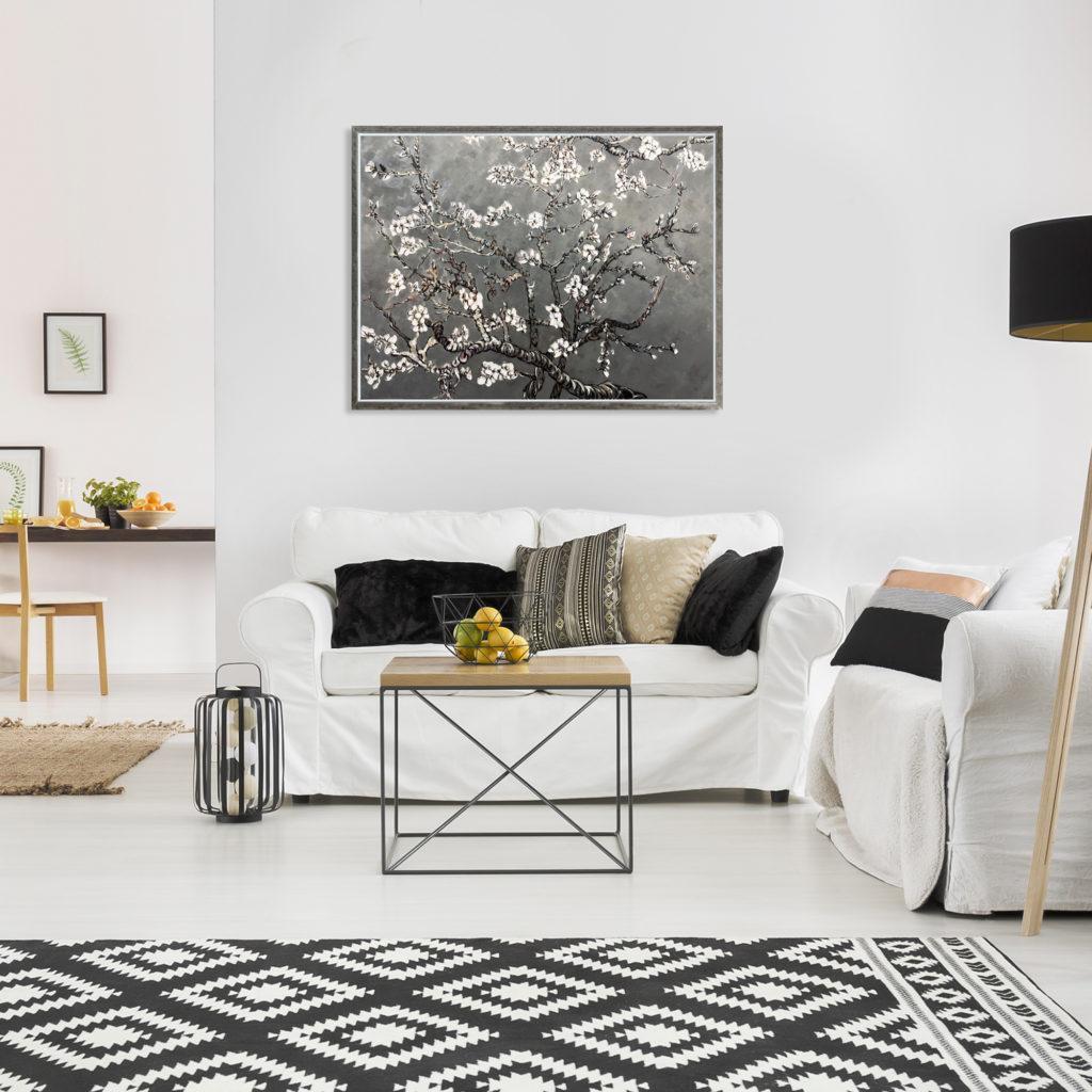 La Pastiche Originals-Branches of an Almond Tree in Blossom, Pearl Grey-Pantone Colors 2021